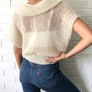 Cream open knit ruffle front tie waist short sleeve bolero cardigan sweater S